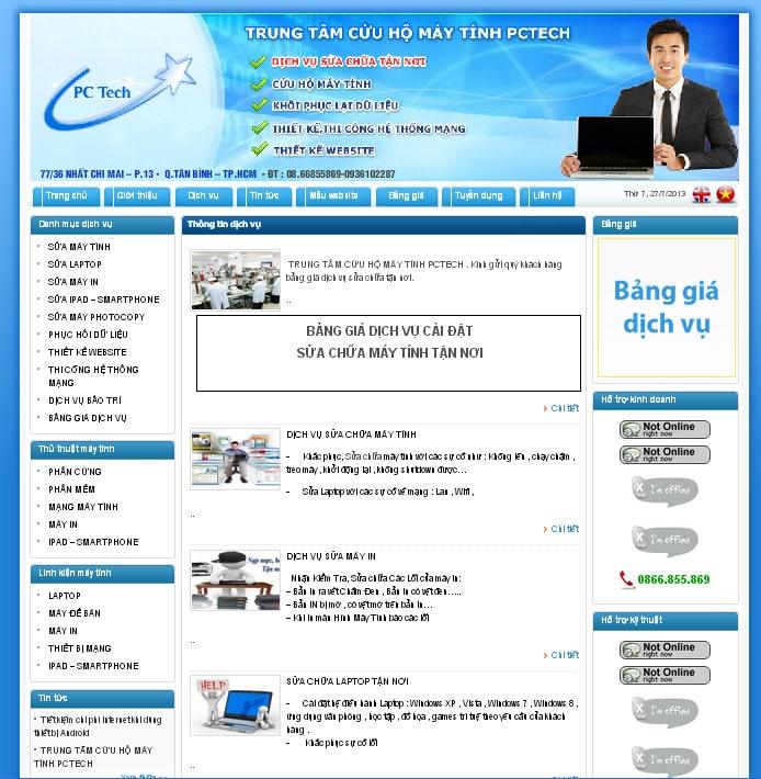 thiet ke web trung tam cuu ho may tinh pctech.com.vn