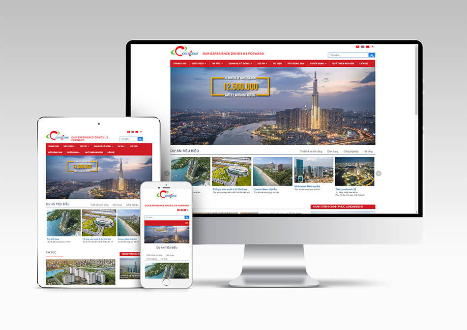 Thiết kế website công ty xây dựng hiển thị đẹp trên điện thoại