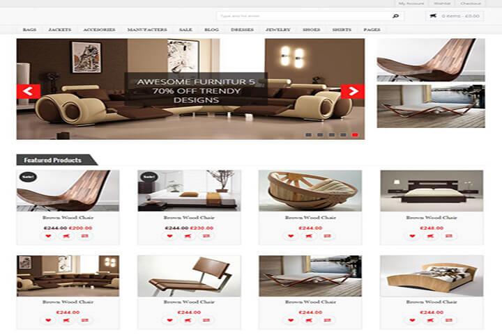 Mẫu template web nội thất