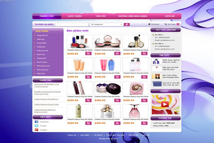 Mẫu website mỹ phẩm làm đẹp
