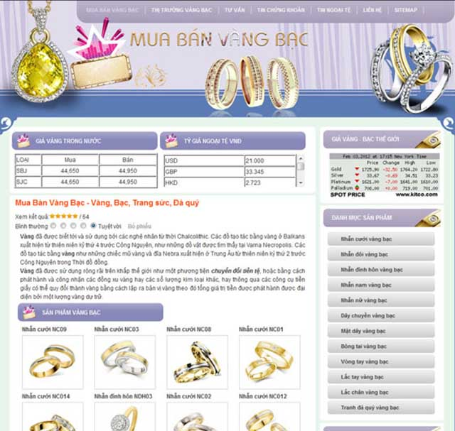 thiết kế web bán nữ trang đá quý