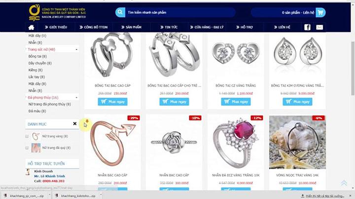 làm website bán nữ trang đá quý