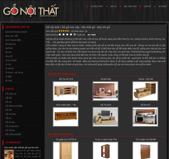 thiết kế website công ty gỗ
