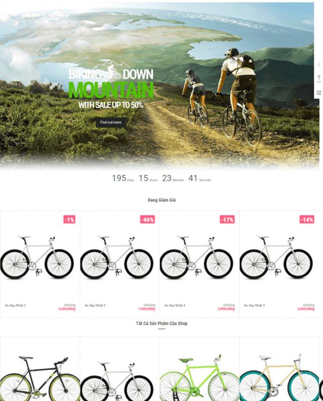 thiết kế web bán xe đạp
