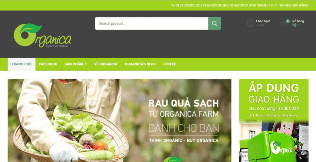 thiết kế web thực phẩm sạch