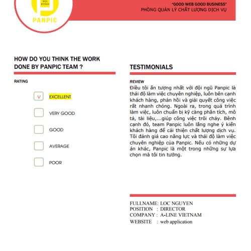 Panpic rating & review web app aline