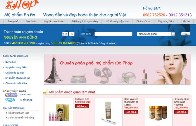 làm website mỹ phẩm