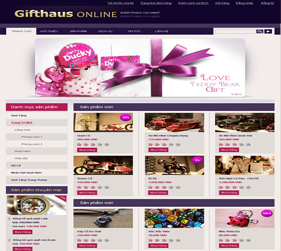 thiết kế website công ty quà tặng online