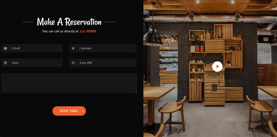Landing page giới thiệu nhà hàng