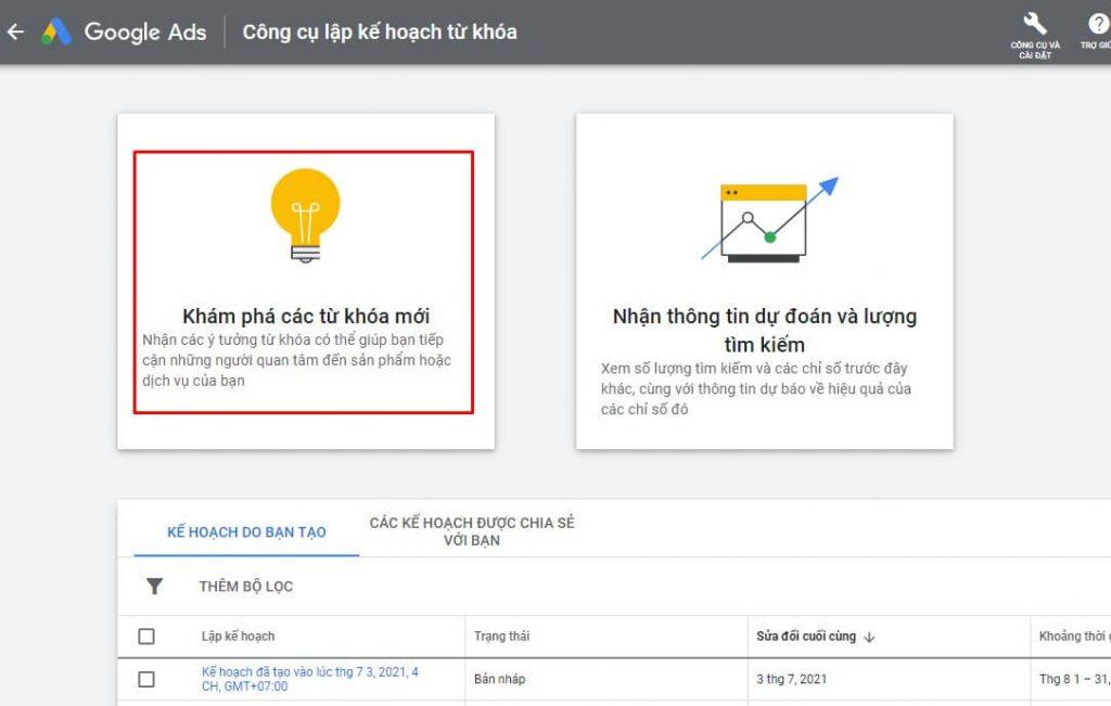 Công cụ lập kế hoạch từ khóa google ads keyword planner