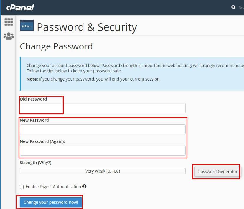 Hướng dẫn đổi mật khẩu hosting Cpanel